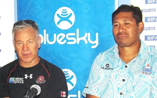 Georgia coach Milton Haig and his Samoan counterpart Namulau'ulu Alama Ieremia.