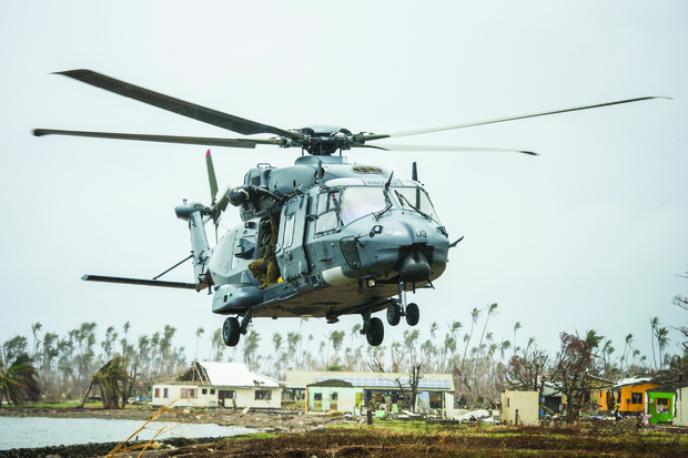 A Royal New Zeland Air Force helicopter landing in Fiji during the cyclone that hit in March.