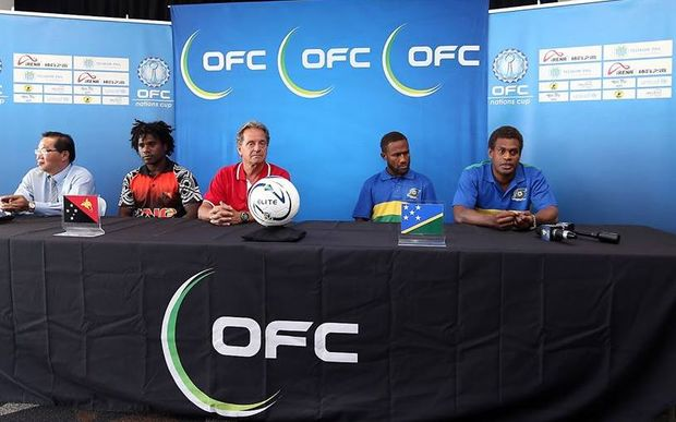 PNG and Solomons front for press conference before their OFC semi-final.