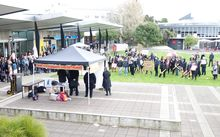 About 200 people attended the rally at the Waikato University campus.