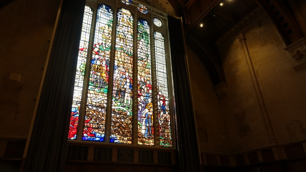 The memorial window, dedicated to former students who died in WWI, had to be removed, repaired and strengthened before taking pride of place in the hall again.