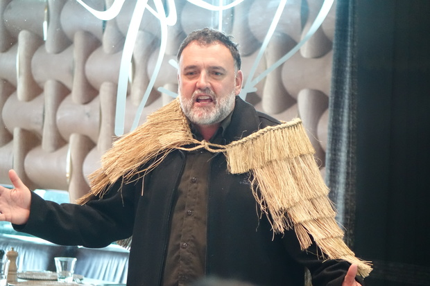 Ruakere Hond speaks at the powhiri to welcome the Ainu visitors.