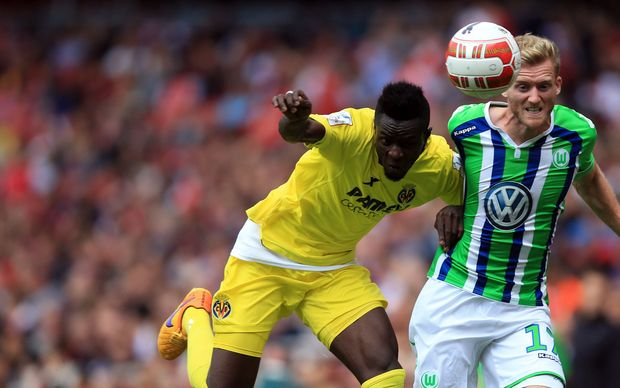 Ivory Coast defender Eric Bailly (left) playing for Villarreal.