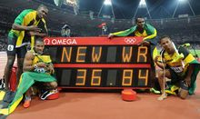Nesta Carter (back right) was also a member of the Jamaican relay team which won gold in London in 2012.