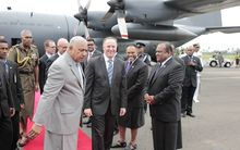 New Zealand's prime minister John Key and Fiji's prime minister Frank Bainimarama on Mr Key's arrival in Suva on Thursday.