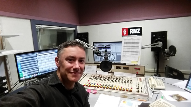 Nick Tipping takes a selfie during one of his first solo shifts presenting on RNZ Concert.