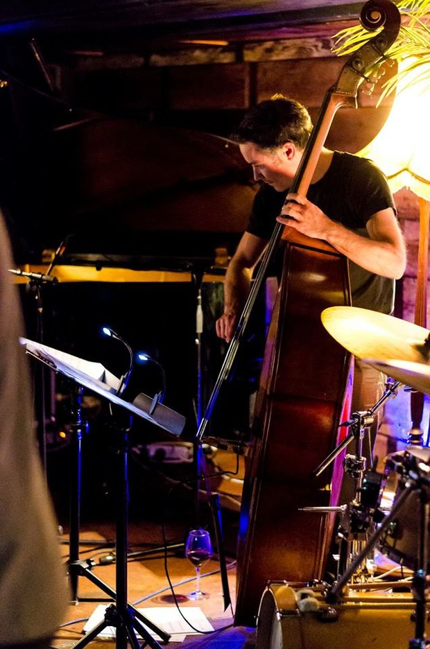 Nick Tipping in his element - behind the bass at a jazz gig.