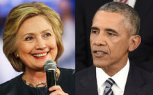 President Barack Obama and Hillary Clinton.