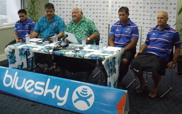 The Manu Samoa captain and coach are joined by the Union Chair and Prime Minister Tuilaepa Sailele Malielegaoi for the team naming.