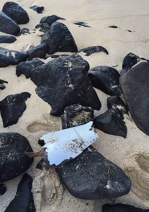 Aircraft debris, suspected to be part of the missing MH370 Malaysian airlines plane, found at the Gris Gris public beach near Souillac, in the southern part of Mauritius Island on May 24.