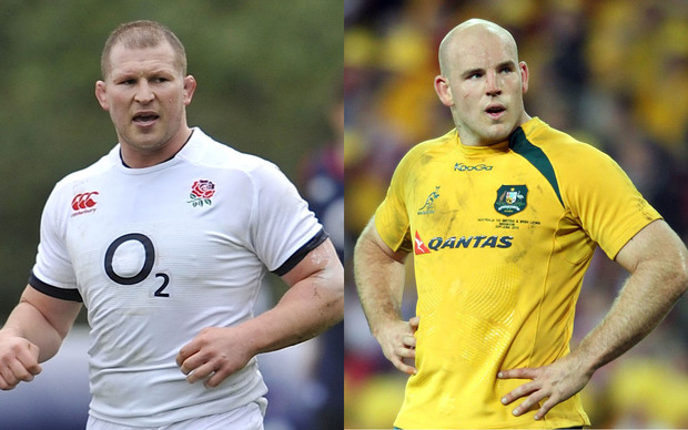 Rugby captains Dylan Hartley of England (left) and Australia's Steven Moore.