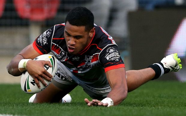 David Fusitu'a dots down one of his four Newcastle tries.
