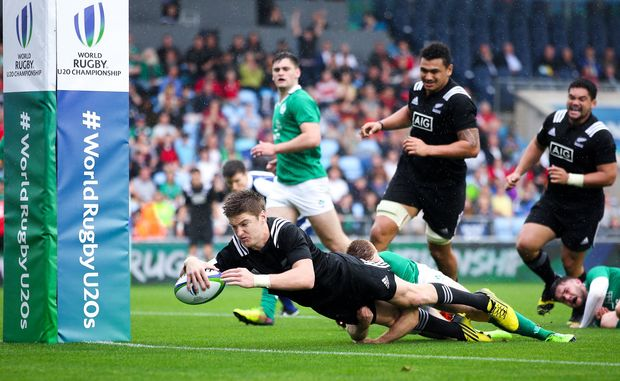 Jordie Barrett scores a try against Ireland at the Under 20 World Cup in England.