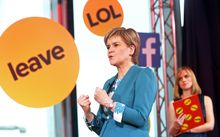 Scottish first minister Nicola Sturgeon takes part in an EU referendum debate in London.