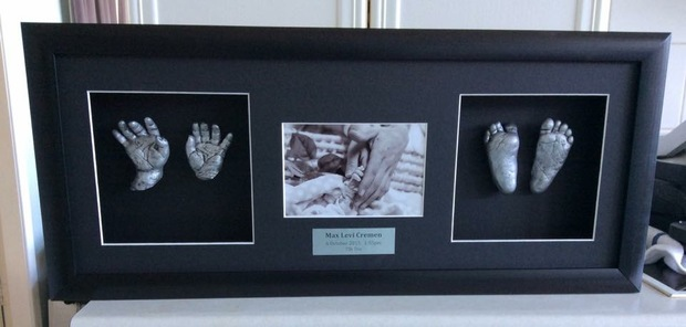 Hand and feet casts of baby Max by Vicki Soal