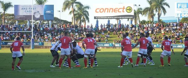 Fiji and Tonga during the Pacific Nations Cup opener in Suva.