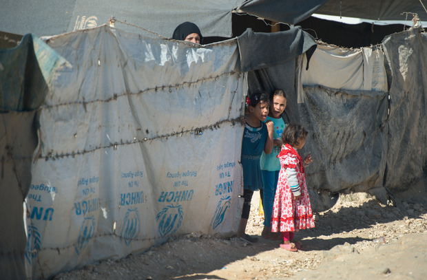 Refugees at a UNHCR camp in Zaatari, Jordan, on 22 September 2015.