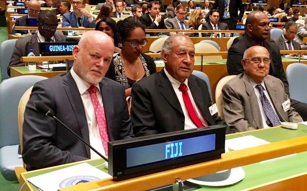 Fiji's Ambassador to the UN, Peter Thomson (left), who has been elected president of the UN General Assembly.