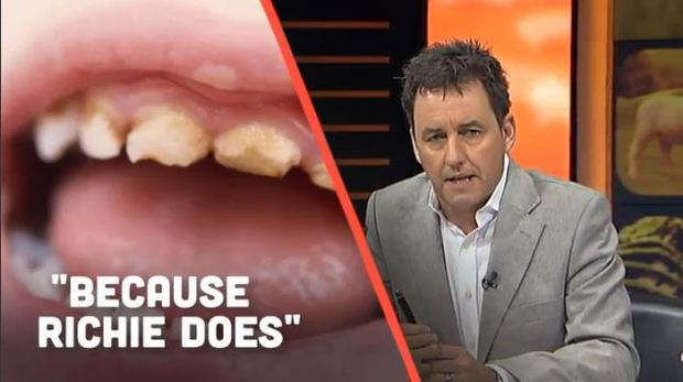 Screenshot of TVNZ's Seven Sharp show covering the controversy over the All Blacks' endorsement of a sugary drink.