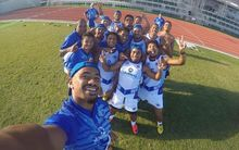 Samoa's sevens squad pose for a selfie during training.