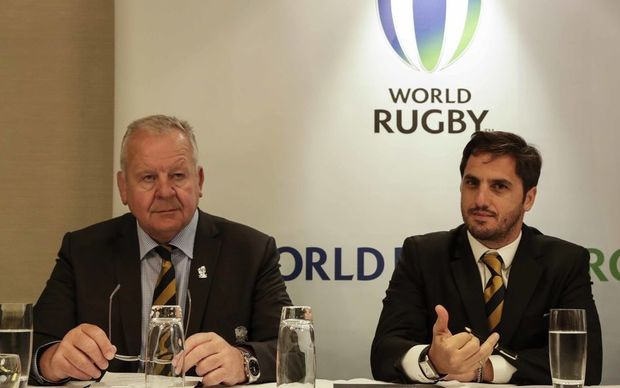 Incoming World Rugby Chair Bill Beaumont with vice-chair Agustin Pichot.