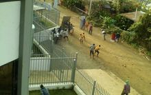 Clashes at Unitech, in the Papua New Guinea city of Lae, on Monday.