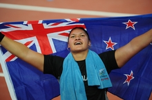New Zealand shotputter Valerie Vili takes out the gold medal in the 2008 Beijing Olympics final.
