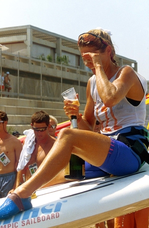 Barbara Kendall celebrates after her win at the Barcelona Olympics 1992.