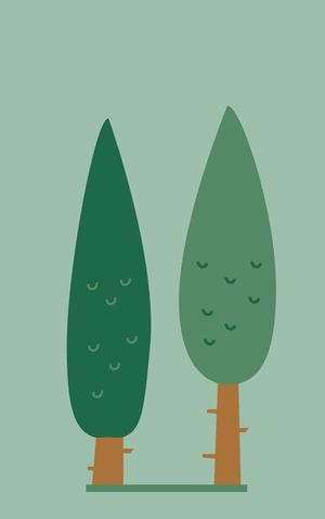 illustration of two pine trees