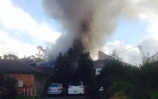 The Fire Service said 11 fire appliances remain at a  property on McLeod Road in the suburb of Te Atatu South after a large blaze broke out at 2.45pm.