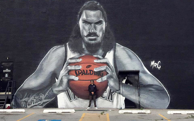 Mural of Steven Adams by Graham Hoete.
