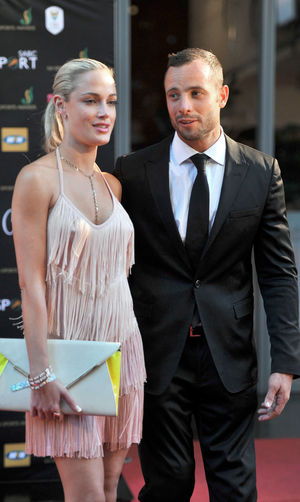 Oscar Pistorius and his model girlfriend Reeva Steenkamp. in 2012 during the Feather Awards held at Melrose Arch in Johannesburg shows.