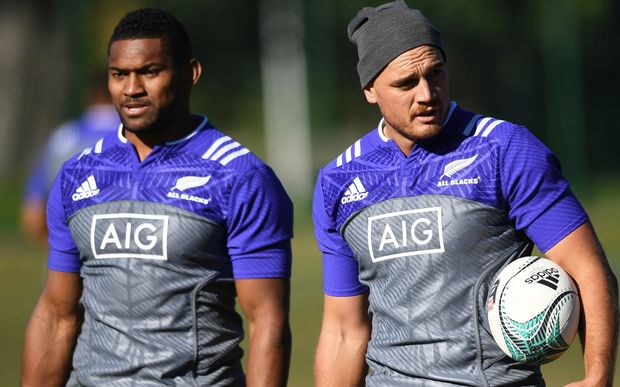 The All Blacks wing Waisake Naholo and fullback Israel Dagg.