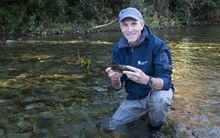 Dr John Hayes of Cawthron Institute in a river
