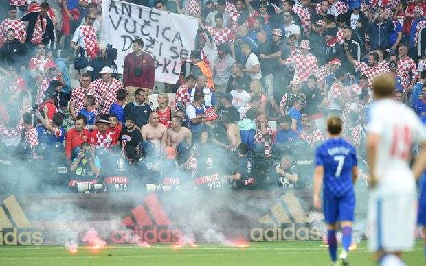 Croatian fans caused trouble in their country's match against the Czech Republic.