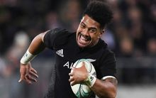 Ardie Savea scores his first try for the All Blacks.