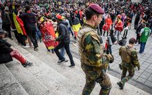 Security remains high in Brussels during a match between Belgium's Red Devils and Northern Ireland in the group stage of the UEFA Euro 2016 European Championships.