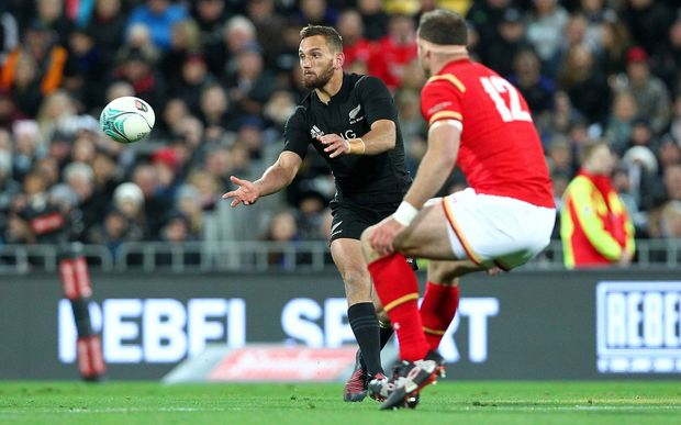 Aaron Cruden  in the All Blacks match against Wales in Wellington, 18/05/16