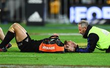 All Black first five Aaron Cruden receives treatment, Wellington 2016.