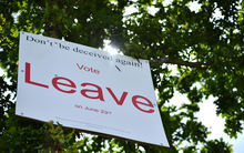 A 'Vote Leave' sign on the roadside near Charing southeast of London.
