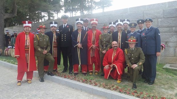 Royal New Zealand Navy Band with members of Turkish Military Band at Turkish memorial on Cape Helles