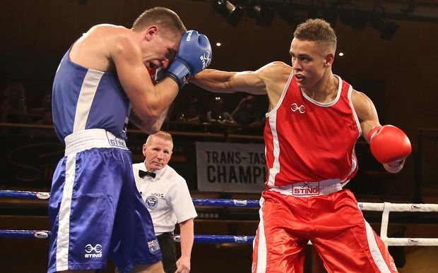 David Nyika (right) fights in the trans-Tasman boxing competition earlier this year.