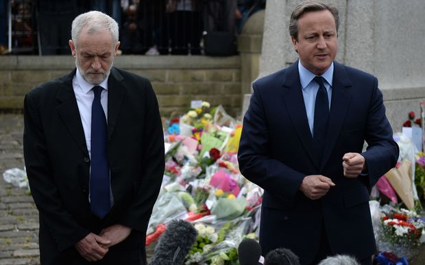 UK Labour leader Jeremy Corbyn and Prime Minister David Cameron paid respects to slain Labour MP Jo Cox in her home town of Birstall on Friday.