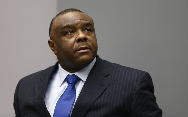 Former Congolese vice-president Jean-Pierre Bemba sits in the courtroom of the International Criminal Court in The Hague.
