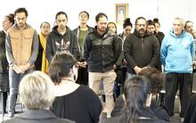 Students and supporting whanau gather at the start of He Reo Aratau Certificate in Te Reo and Tikanga Māori.  The course is run by Wintec and focuses on the distinctive dialect of Waikato-Tainui.