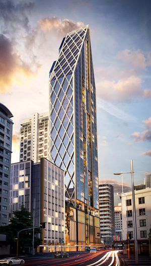 An artist's impression of the planned 52-storey on Auckland's Custom Street.