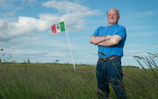 Scotsman Michael Forbes proudly flies the Mexican flag at his home north of  Aberdeen next to Trump International Golf Links course.