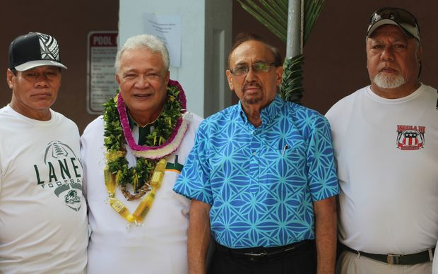 Candidate Faoa Aitofele Sunia with ulas and supporters at the campaign kickoff.