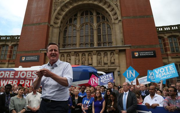 Britain's Prime Minister David Cameron  campaigning in Birmingham the day before the vote on whether to stay in the EU.