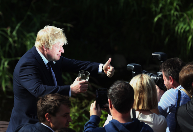 """Vote Leave"" campaigner Boris Johnson on a whistlestop tour of the country on Wednesday."